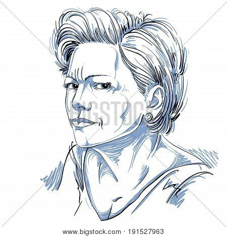 Vector portrait of attractive woman illustration of good-looking female expressing doubt. Person emotional face expression disbeliever idea.