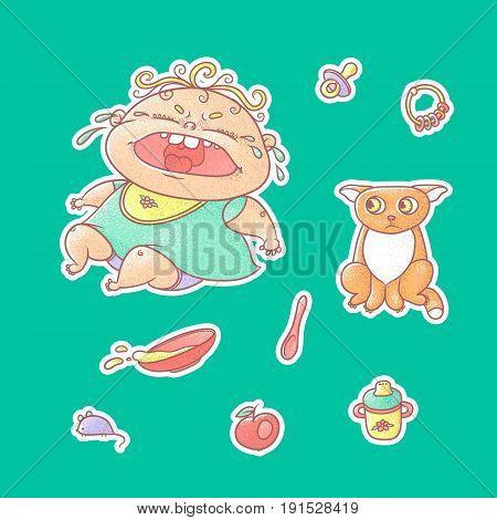 Vector set of color illustrations stickers crying child and scared kitten. Baby bottle with water or milk and a plate of porridge, other food. The chubby curly wailing kid and sad red cat.