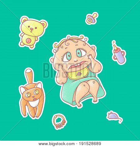 Vector set of color illustrations stickers of the scared child and the kitten. Hygiene items, baby care and toys. The chubby curly frightened kid with big eyes in bright clothes and red cat.
