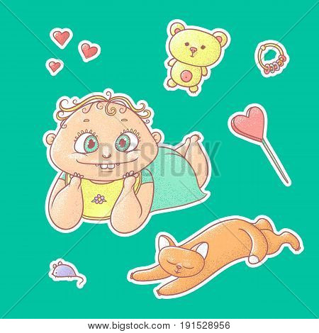Vector set of color illustrations stickers smiling child and happy kitten. Baby toys and symbols of love. The chubby funny curly kid with big eyes and red cat.