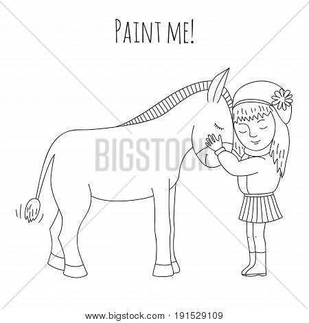 Little girl hugging a donkey. Coloring book for adults and children.