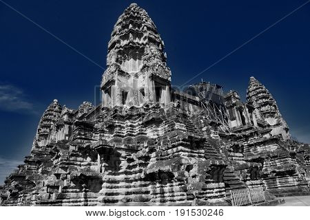 views of the angkor vat temple in cambodia