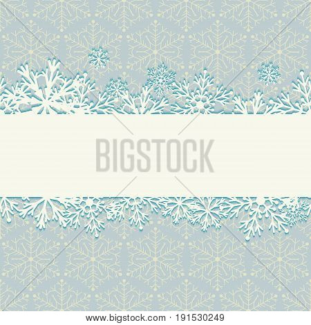 Christmas winter background with snowflakes. Continuous horizontal strip of snow on backdrop with snowflakes. Vector illustration