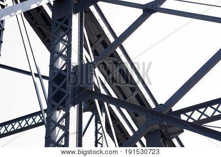 Bridge Girders And Steel Work Structures On Old Steel Mill Bridge