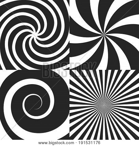 Set of psychedelic spiral with radial rays, swirl, twisted cosmic effect, vortex backgrounds vector