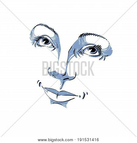 Hand-drawn illustration of woman face black and white mask with emotions. Features of beautiful romantic girl posing for portrait.