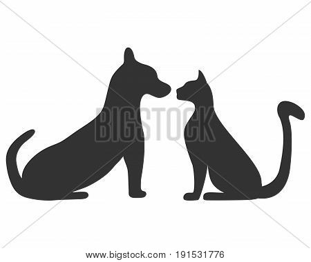 Silhouettes of a cat and a dog illustration