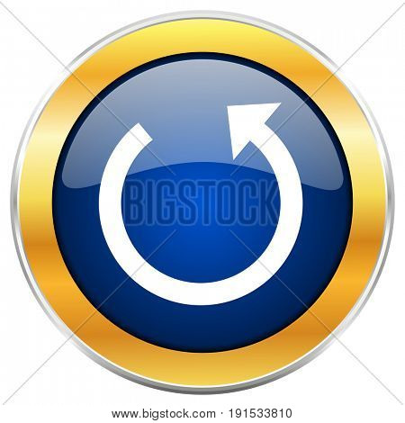 Rotate blue web icon with golden chrome metallic border isolated on white background for web and mobile apps designers.