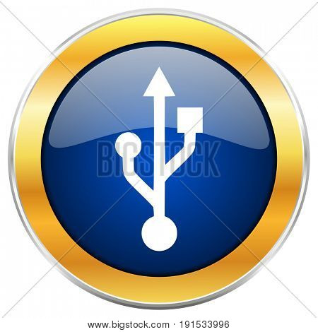 Usb blue web icon with golden chrome metallic border isolated on white background for web and mobile apps designers.