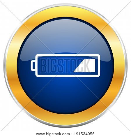 Battery blue web icon with golden chrome metallic border isolated on white background for web and mobile apps designers.