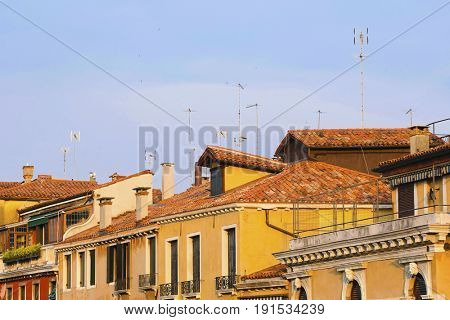 Roofs of inhabitable houses in Venice, Italy