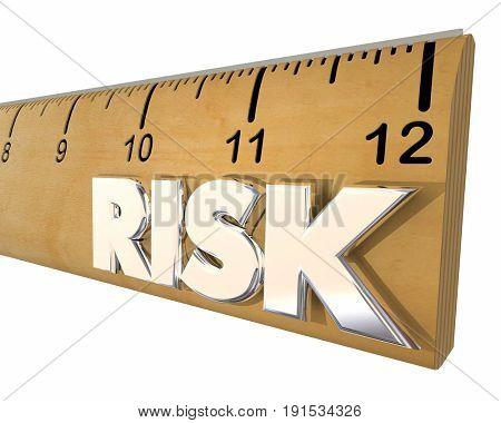 Risk Measurement Ruler Danger Warning 3d Illustration