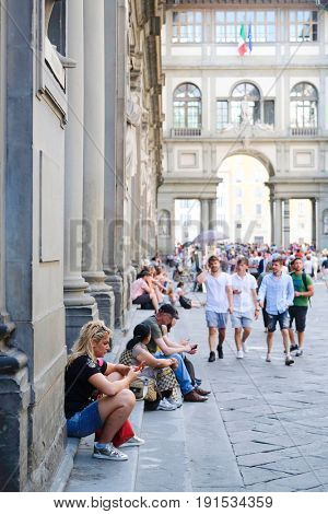 Florence, Italy - June, 5, 2017: visitors in Uffizi gallery yard in Florence, Italy