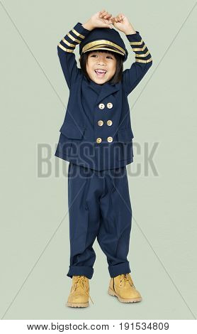 Little boy with pilot dream job smiling