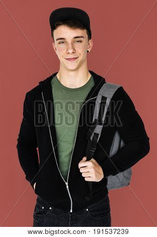 A teenager student guy with backpack