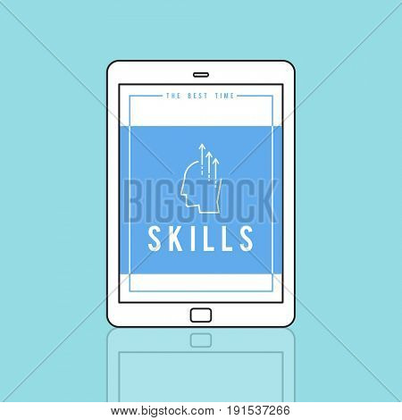 Tablet showing creative ideas ability word graphic illustration