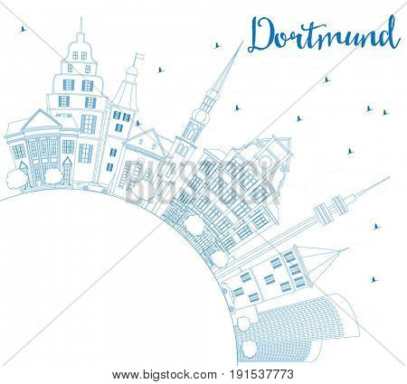 Outline Dortmund Skyline with Blue Buildings and Copy Space. Business Travel and Tourism Concept with Historic Architecture. Image for Presentation Banner Placard and Web Site.