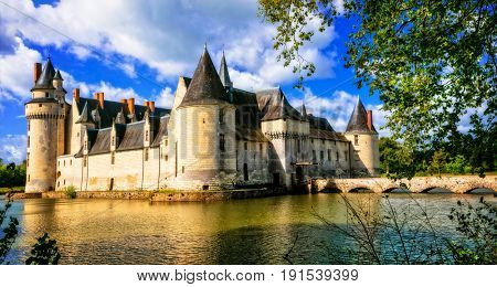 Romantic medieval castles of Loire valley - fairytale Le Plessis-bourre. Landmarks of France