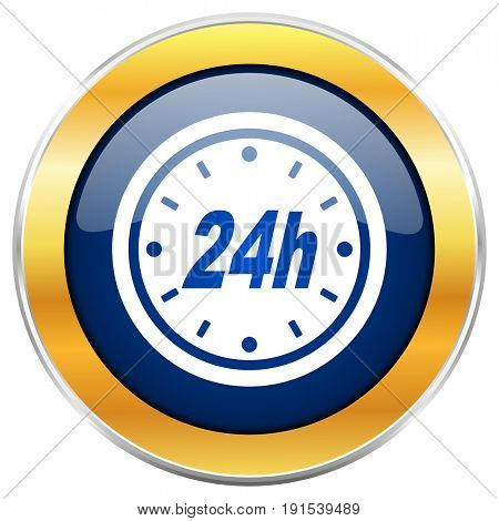 24h blue web icon with golden chrome metallic border isolated on white background for web and mobile apps designers.