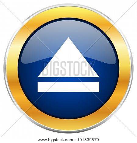 Eject blue web icon with golden chrome metallic border isolated on white background for web and mobile apps designers.