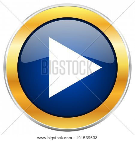 Play blue web icon with golden chrome metallic border isolated on white background for web and mobile apps designers.