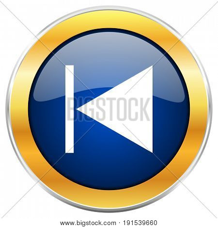 Prev blue web icon with golden chrome metallic border isolated on white background for web and mobile apps designers.