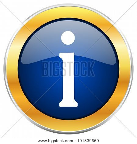 Information blue web icon with golden chrome metallic border isolated on white background for web and mobile apps designers.