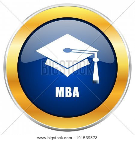 Mba blue web icon with golden chrome metallic border isolated on white background for web and mobile apps designers.