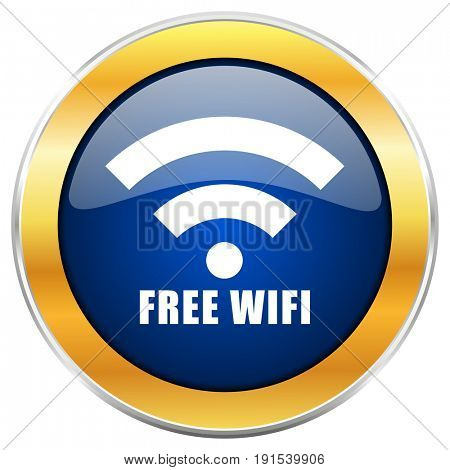 Free wifi blue web icon with golden chrome metallic border isolated on white background for web and mobile apps designers.