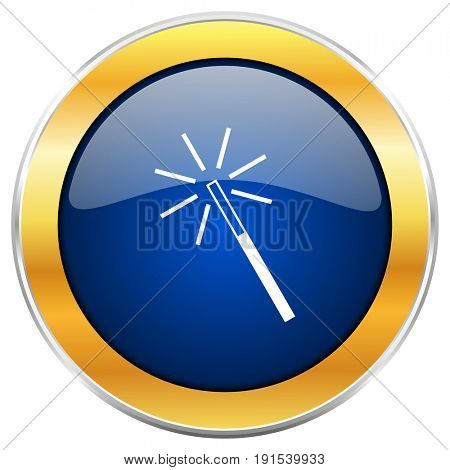 Magic wand blue web icon with golden chrome metallic border isolated on white background for web and mobile apps designers.