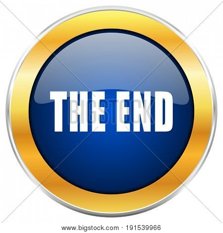 The end blue web icon with golden chrome metallic border isolated on white background for web and mobile apps designers.