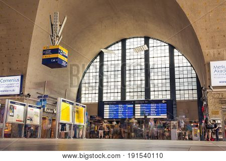 Busy Day at Karlsruhe Hauptbahnhof Timelapse People Rushing Through on June 14 2017