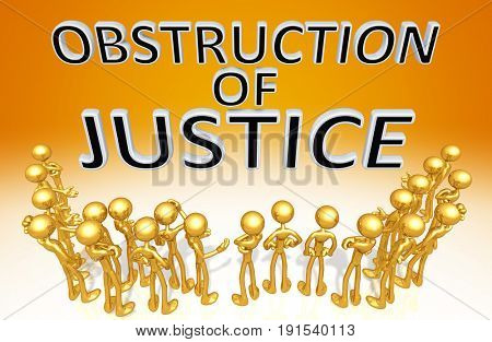 Obstruction Of Justice With A Crowd Of The Original 3D Characters Illustration