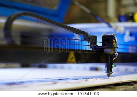 Laser craft machine cutting plywood