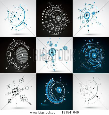 Set of vector Bauhaus abstract backgrounds made with grid and overlapping simple geometric elements circles and lines. Retro style artworks graphic templates for advertising poster.