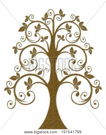 Gold decoration element in the form of a tree. Gold vintage Pattern.