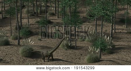3d rendering of the prehistoric araucaria grove