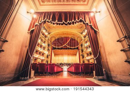 PALERMO, ITALY. December 30, 2016: The Teatro (Theater) Massimo Vittorio Emanuele is an opera house and opera company located on the Piazza Verdi in Palermo, Sicily. Italy. Theater opera entrance.