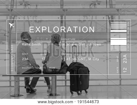 Flight detail banner on senior couple traveler background