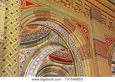 CHERNIVTSI, UKRAINE - APRIL 22, 2017: Beautiful patterns on the ceiling in the church of Chernivtsi University, Western Ukraine, Europe