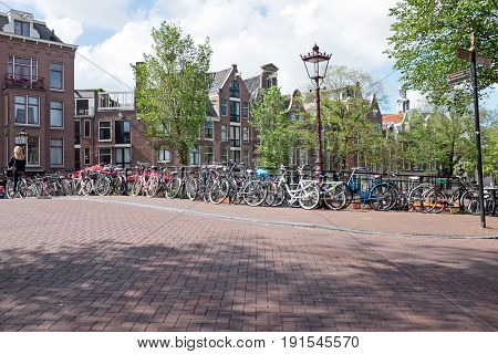 City scenic in Amsterdam the Netherlands at the Prinsengracht