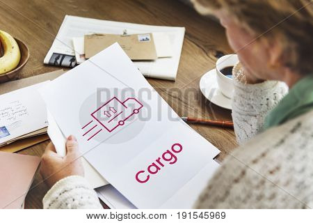 Woman working on paper network graphic overlay