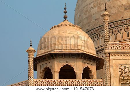Architectural detail of the famous Taj Mahal, Agra, India
