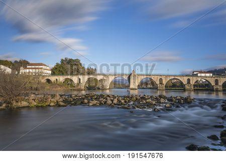 Long exposure at ancient bridge of Ponte da Barca - north of Portugal
