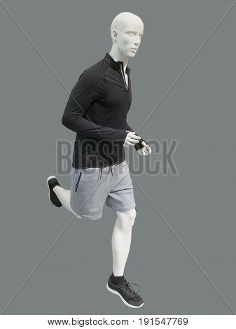 Running male mannequin isolated on gray background. No brand names or copyright objects.