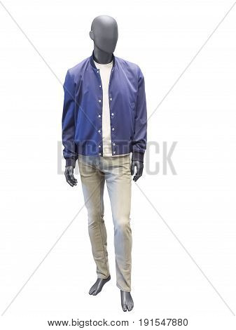 Full length male mannequin dressed in blue jacket and trousers isolated on white background. No brand names or copyright objects.