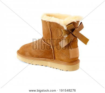 boot with fur, isolated on white