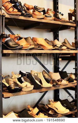 Women shoes on the shelves in the store