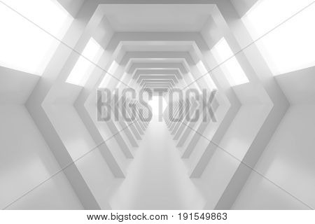 Abstract empty shining tunnel with light in the end. 3D Render. Tunnel with light at the end. Shiny glossy surface. Abstract background. Landscape aspect ratio. 3D illustration.