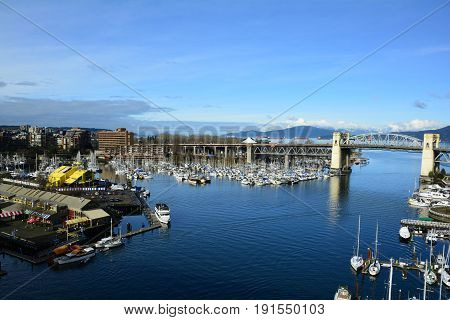 Vancouver BC,Canada,February 20th 2017.False Creek and Granville island in Vancouver is an awesome place for a visit when in this beautiful city.Come to Granville Island in Vancouver and explore and take home great memories.